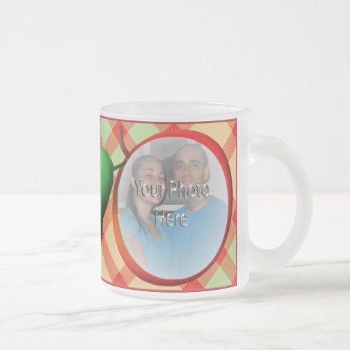 Red Apple Plaid Customizable Photo Mug