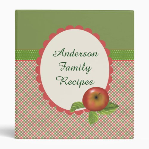 Red Apple Plaid Family Recipe 3 Ring Binder