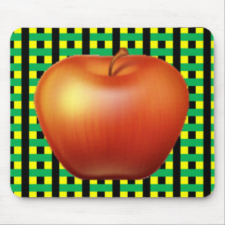 Red Apple Plaid Mouse Pad