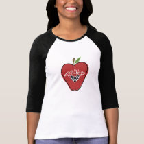 Red Apple Polka Dot Heart Teacher T Shirt