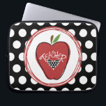 """Red Apple &amp; Polka Dot Laptop Sleeve<br><div class=""""desc"""">An electronics case for teachers featuring an illustration of a red apple decorated with a black border,  a black heart with white  polka dots,  and white text that says &quot;TEACHER.&quot; Background is black with white polka dots.</div>"""