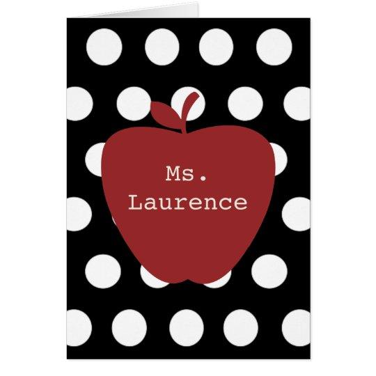 Red Apple & Polka Dot Teacher Card