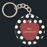 "Red Apple &amp; Polka Dot Teacher Keychain<br><div class=""desc"">A gift for teachers featuring an illustration of a red apple over a black background with white polka dots.  Personalize with your name.</div>"