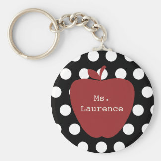Red Apple & Polka Dot Teacher Keychain