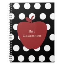 Red Apple & Polka Dot Teacher Notebook