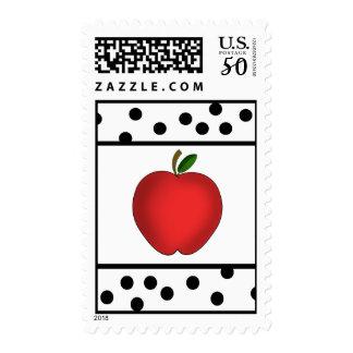 Red Apple Polka Dot Teacher Postage