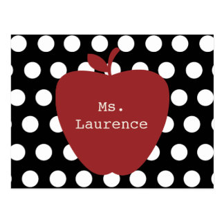 Red Apple & Polka Dot Teacher Postcard