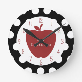 Red Apple & Polka Dot Teacher Round Clock