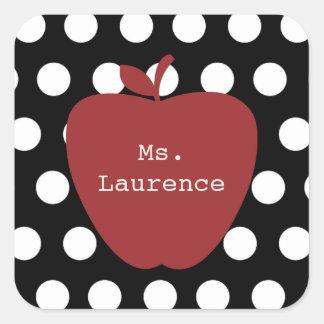 Red Apple & Polka Dot Teacher Square Sticker