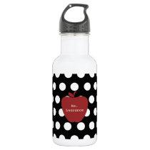 Red Apple & Polka Dot Teacher Water Bottle