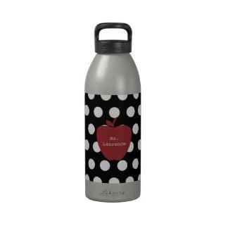 Red Apple & Polka Dot Teacher Reusable Water Bottle