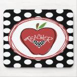 Red Apple & Polka Dots Teacher Mousepad