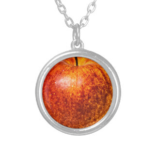 Red apple round pendant necklace