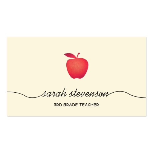 Red Apple School Teacher Simple Pale Yellow Double-sided Standard Business Cards (pack Of 100)