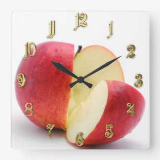 Red apple square wall clock