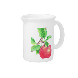 Red Apple Study (Pencil by Kimberly Turnbull Art) Pitcher