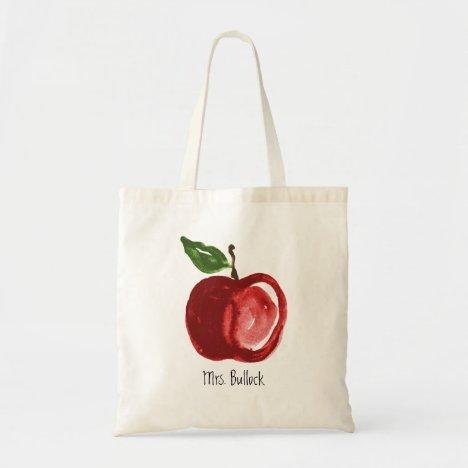 Red Apple Teacher Add Name Tote Bag