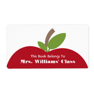 Red Apple Teacher Bookplate For Classroom Shipping Labels