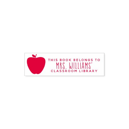 Red Apple Teacher Classroom Library Self_inking Stamp