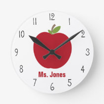 Red Apple Teacher Clock