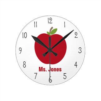 Red Apple Teacher Clock