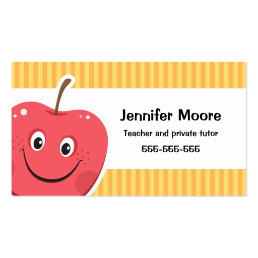 Red apple teacher or private tutor business card