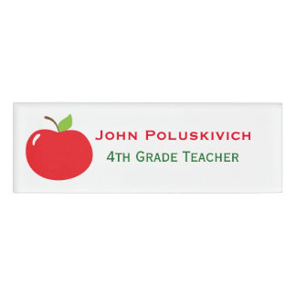 Red Apple Teacher's Custom Name Tag