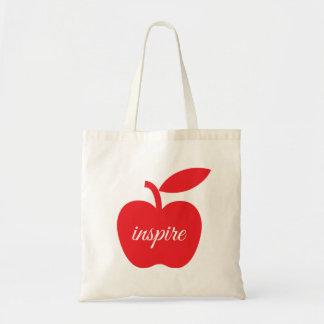 Red Apple Teachers Inspire Tote Bag