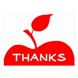 Red Apple Thank You Postcard