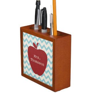 Red Apple Turquoise Chevron Teacher Desk Organizer