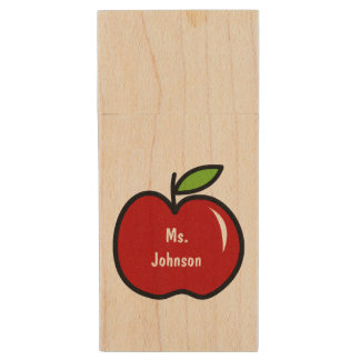 Red apple USB pen flash drive for teacher