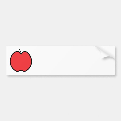 Red Apple with a Black Outline. Bumper Sticker