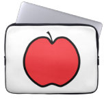 Red Apple with a Black Outline. Computer Sleeve