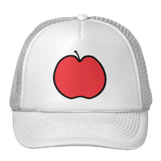 Red Apple with a Black Outline. Mesh Hats