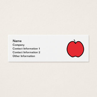 Red Apple with a Black Outline. Mini Business Card