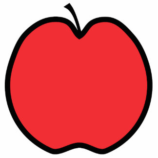 Red Apple with a Black Outline. Cut Out