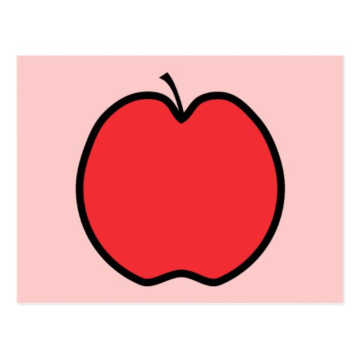 Red Apple with a Black Outline. Post Card