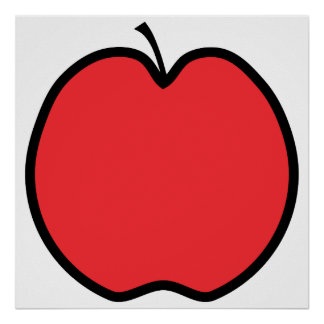 Red Apple with a Black Outline. Print