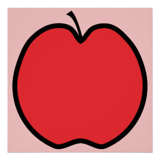 Red Apple with a Black Outline. Posters