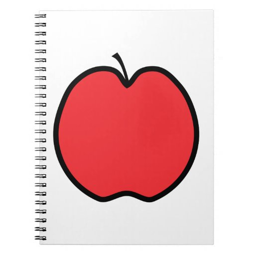 Red Apple with a Black Outline. Spiral Note Books