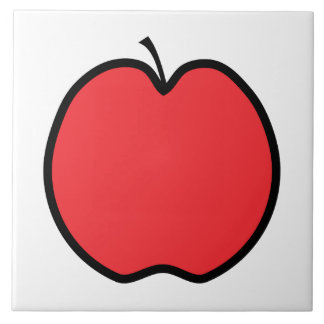 Red Apple with a Black Outline. Tile