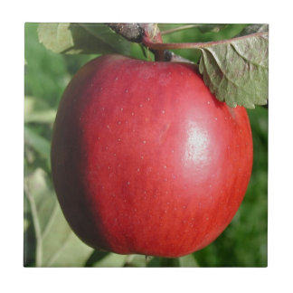 Red Apple with a Leaf Ceramic Tiles