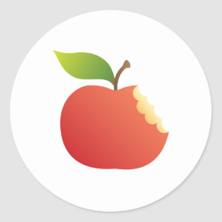 Red apple with bite classic round sticker