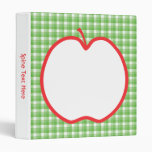 Red Apple. With Green and White Check Background. 3 Ring Binder