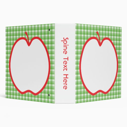 Red Apple. With Green and White Check Background. 3 Ring Binders