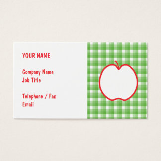 Red Apple. With Green and White Check Background. Business Card