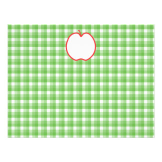 Red Apple. With Green and White Check Background. Flyer
