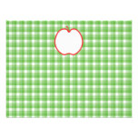 Red Apple. With Green and White Check Background. Custom Invites