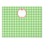 """Red Apple. With Green and White Check Background. 4.25"""" X 5.5"""" Invitation Card"""