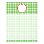 Red Apple. With Green and White Check Background. Letterhead